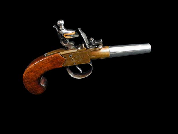 A Fine J & W Richards Flintlock Box-Lock PistolC. 1800-1818.