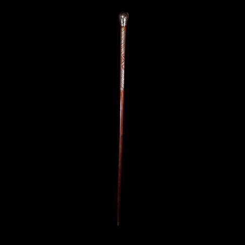 A Hardwood Pique Walking Cane C. 20th Century.  Item: 150
