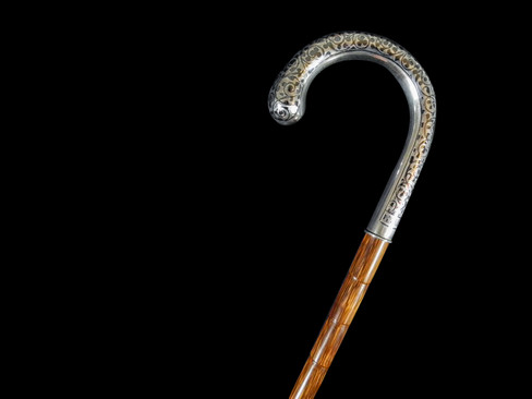 A Fine Silver Niello Walking Cane Circa 20th Century.