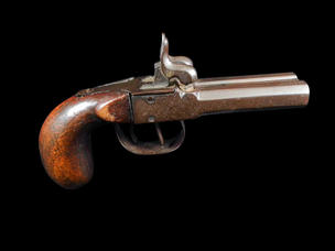 A 19th Century Side by Side Percussion Cap Pistol.