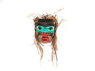 A Kwakwaka'wakw Human Mask Carved by Manny Georgeson  C. 21st Century.