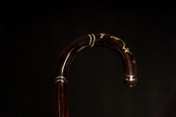 A Silver Inlaid Walking Cane C. Early 20th Century.
