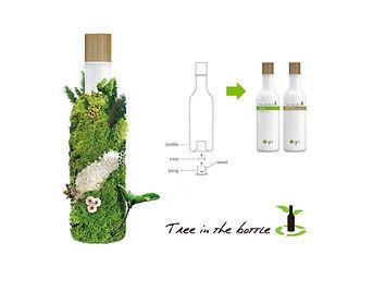 illustratie van o'right tree in a bottle. Een biologisch afbreekbaar flesje natuurlijke shampoo van o'right met onderin een zaadje waaruit een nieuwe boom groeit