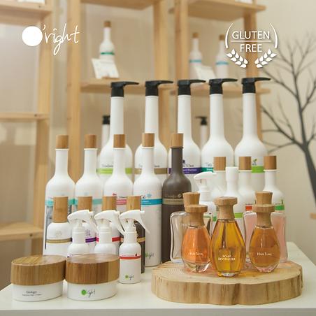 sfeerbeel van de natuurlijke haarproducten van o'right, onder andere o'right shampoo, o'right scalp spray, o'right hair oil
