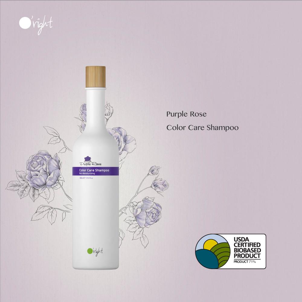 O'right purple rose shampoo voor gekleurd haar met het usda biobased logo voor natuurlijke haarverzorging