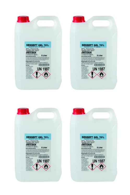 4x Denteck Densept Gel 70% - verdikte desinfecterende handgel 5 liter bidon