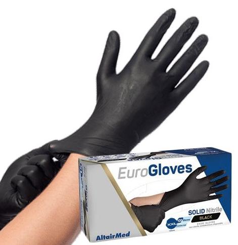 Sterke zwarte nitrile wegwerphandschoenen MEDIUM - 100st.