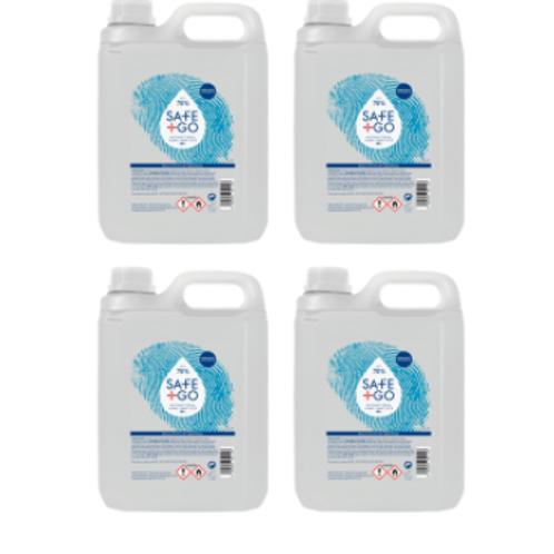 4x Desinfecterende handgel navulling Safe and Go 70% alcohol 5 Liter bidon