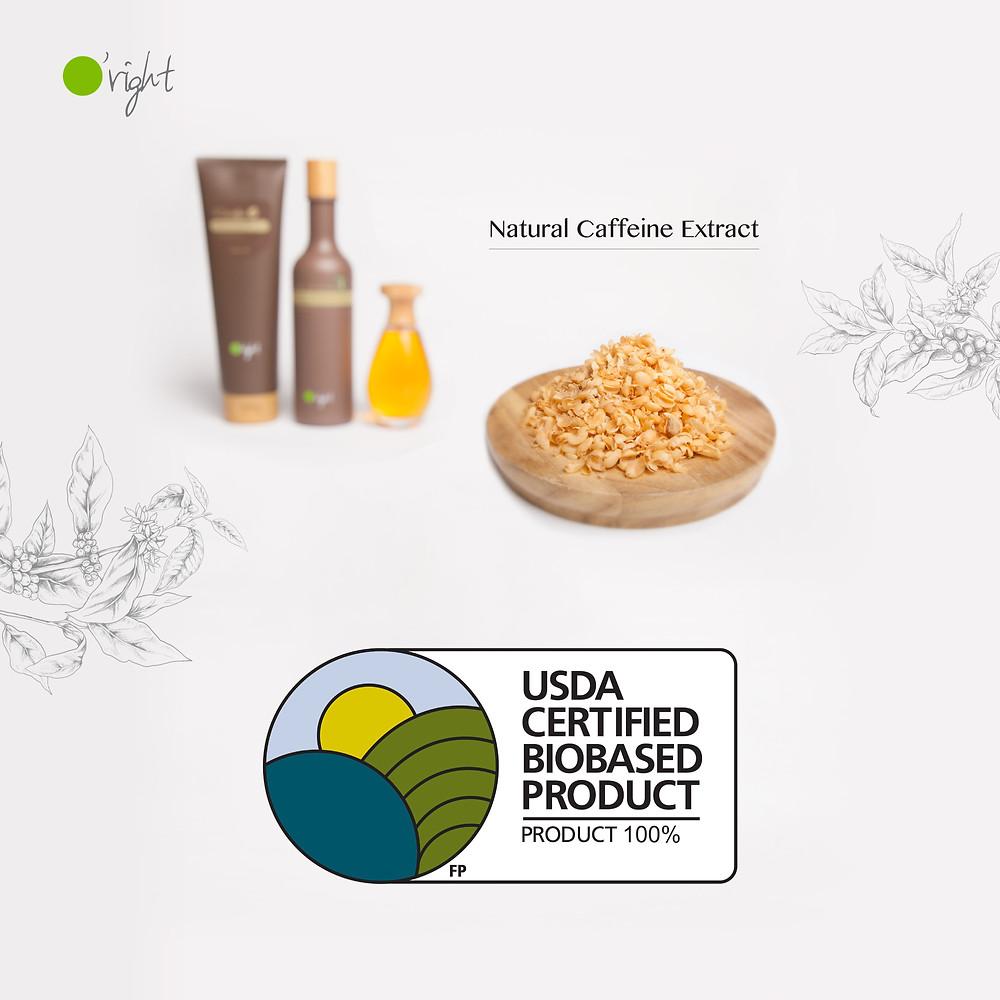o'right caffeine natuurlijke shampoo met usda certified biobased product logo