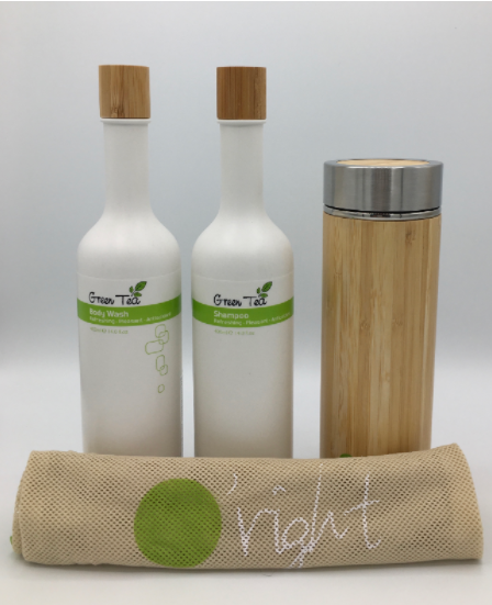 Set O'right: 400ml shampoo & bodywash + Bamboo thermos en eco-bag
