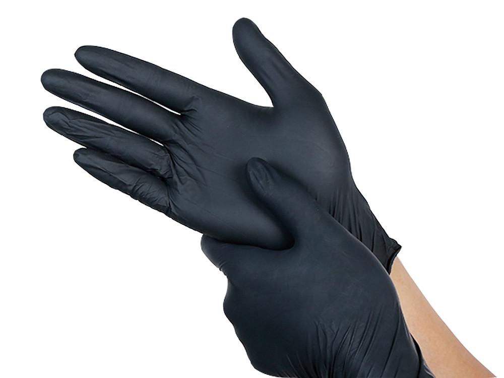 zwarte wegwerphandschoenen van latex of nitril