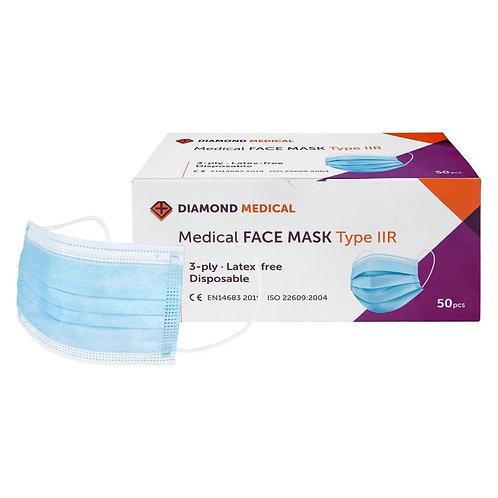 Diamond medical medische mondkapjes chirurgische mondmaskers 50st. CE gekeurd en 14683 voor contactberoepen zoals kappers