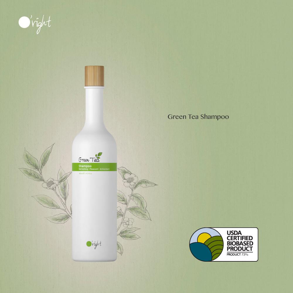 O'right green tea shampoo natuurlijke en gezonde haarverzorging met usda certified biobased product label