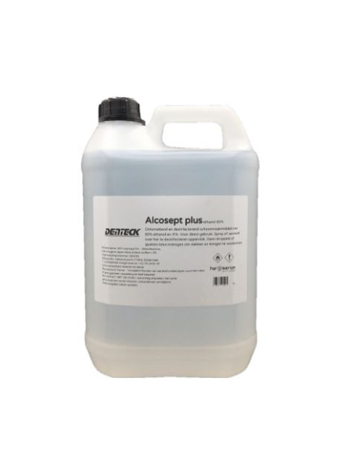 5 liter professionele desinfecterende schoonmaakalcohol met 80% alcohol voor het ontsmetten van oppervlakken en instrumenten.