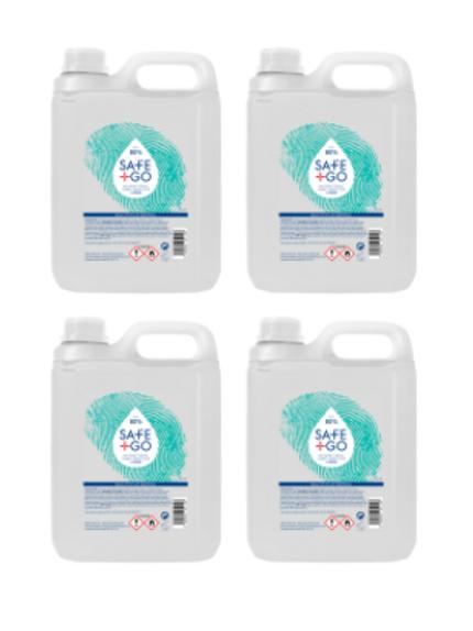 4x Desinfecterende handalcohol navulling Safe and Go 80% alcohol 5 Liter bidon