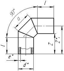 Фитинг из ПНД 90 градусов - схема