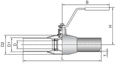 Кран шаровый приварной схема в разрезе
