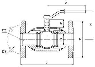 Кран шаровый фланцевый схема