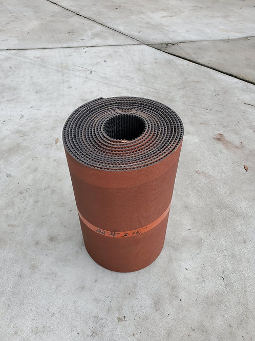 """RG-0008Conveyor Belt 16"""" x 22'4"""" 2 Ply Black Rough Top with SS Lacing"""