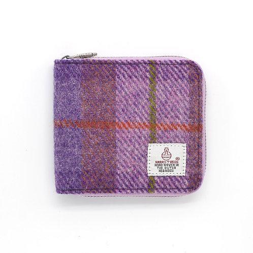 Harris Tweed Short Zip Purse Pink/Purple