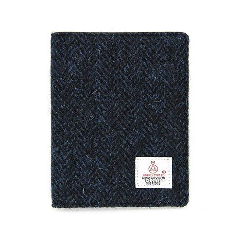 Harris Tweed Passport Holder Blue Herringbone