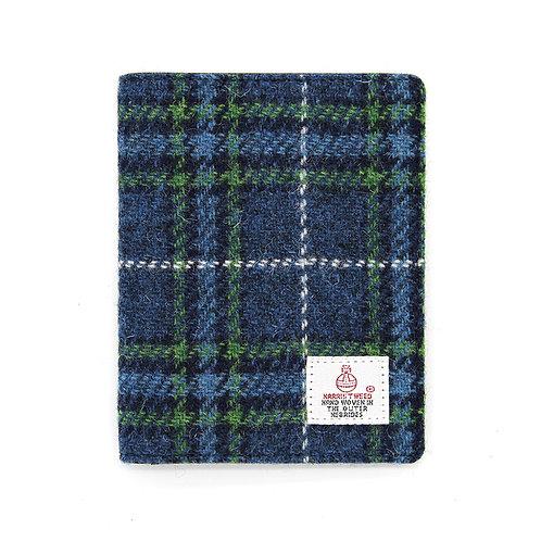 Harris Tweed Passport Holder Blue Tartan