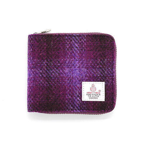 Harris Tweed Short Zip Purse Purple
