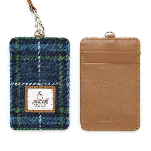 HARRIS TWEED Card Holder with Strap - Blue Check