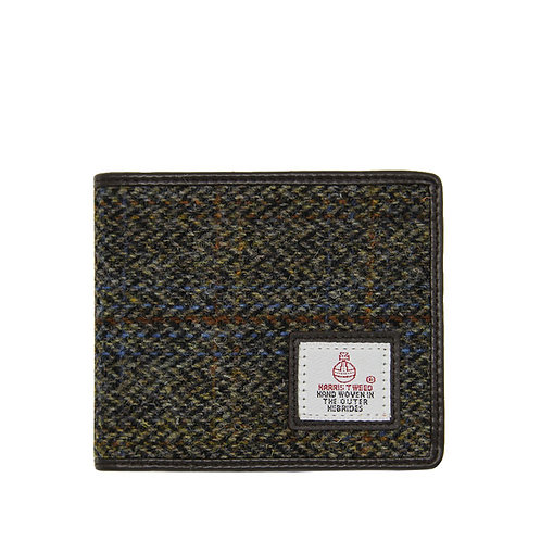 Harris Tweed Bi-fold Wallet Dark Brown Herringbone