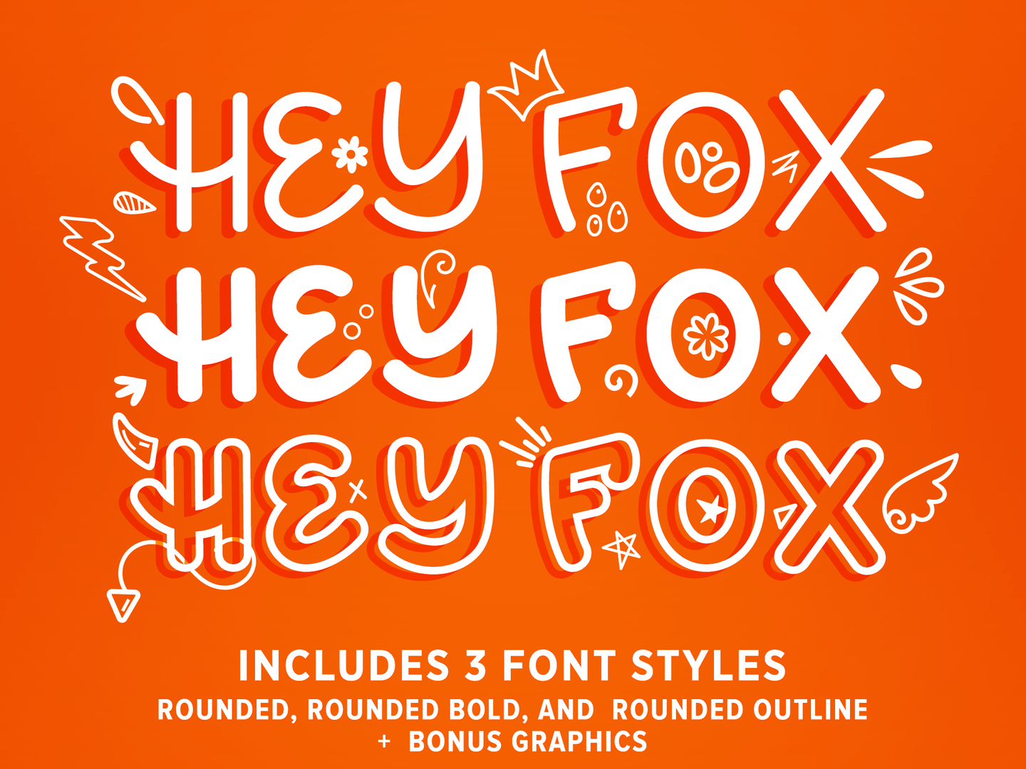 Hey Fox Rounded Font Trio