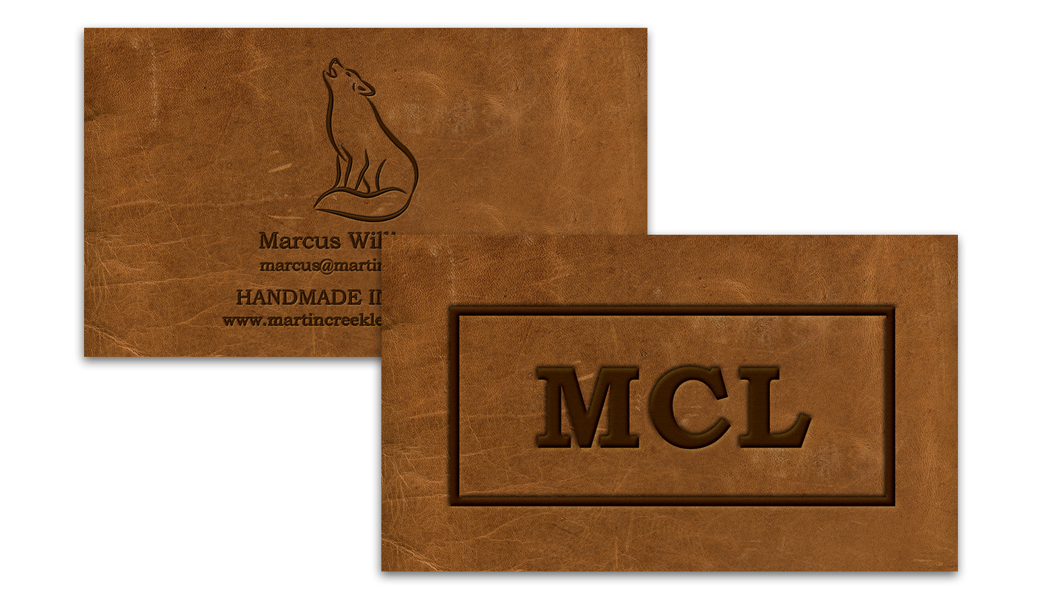 Business Cards with Leather Stamp