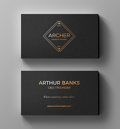 Sample of Standard Size Business Card with Gold Foil and Raised Text