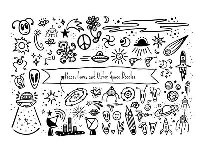 Friends & Aliens Font Doodles