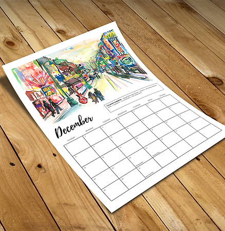 Sample of a Custom Designed 11x14 Inch Calendar Project for Erika Roberts