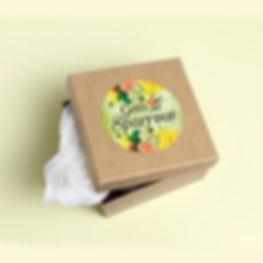 Kraft Gift Box Mockup with Custom Sticker Design Example
