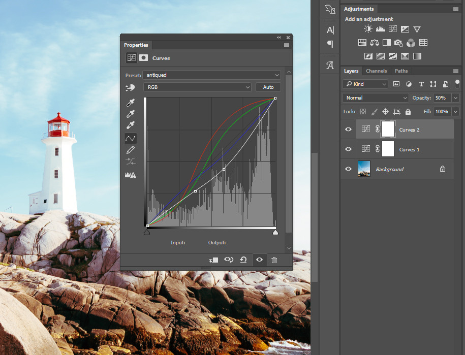 Layering can create unique results which can be applied over a series of images by dragging and dropping the layers.