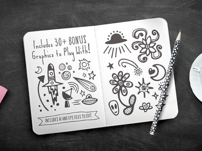 Friends & Aliens Font Bonus Graphics