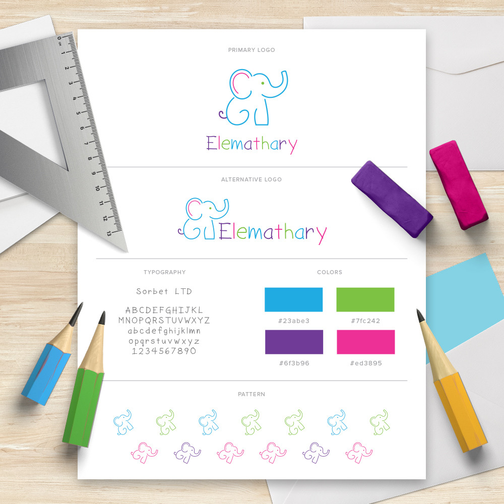 Branding board with complete logo, color palette, and typography.