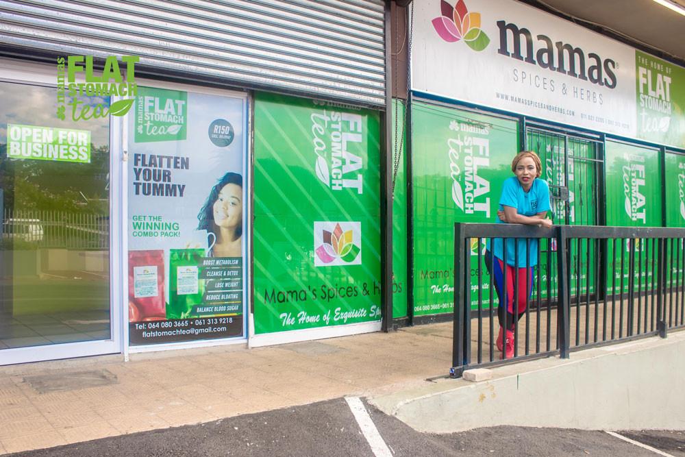 Mikie Monoketsi in front of her store in Randburg.