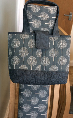 Bag made from cotton canvas Trees design