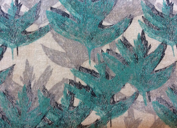 Cotton Canvas Turquoise Leaves