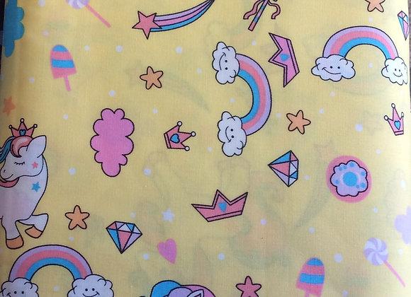Unicorns and rainbows  on lemon background