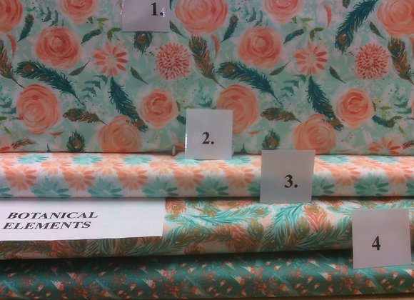 Botanical Elements   Peach and Turquoise