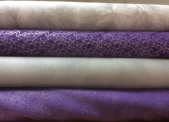 Purple and Silver Metallic Fabrics