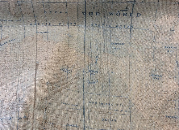 WORLD MAP COTTON CANVAS