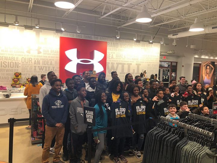 Taking kids shopping at Under Armour