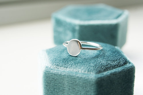 Simple silver signet ring