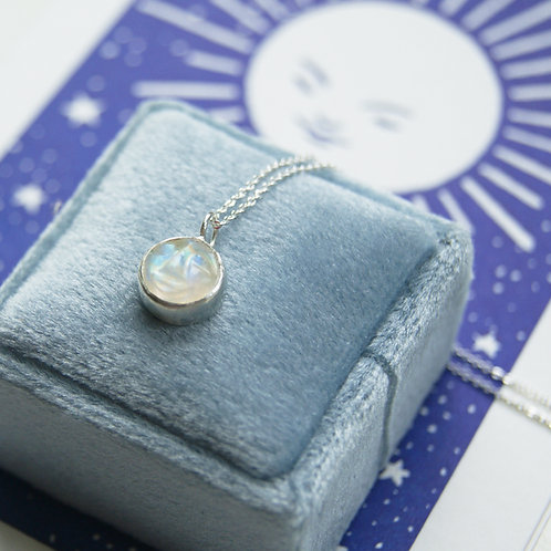 Carved Moonstone Moon Face Pendant in Sterling Silver
