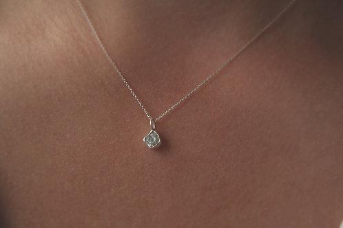 Small Grey Raw Diamond Necklace in Silver