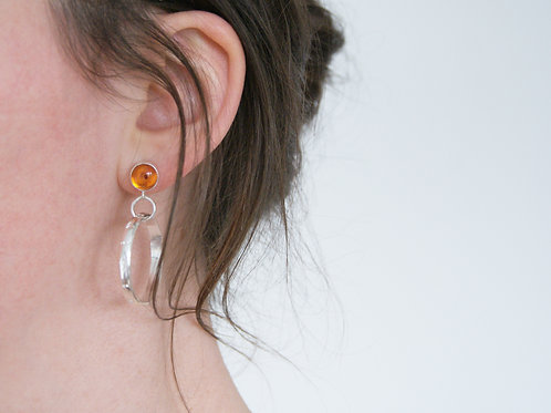 Amber Earrings with Tribal Stamped Hoops